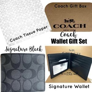 Coach Black Signature C Wallet NEW Tags Gift Set